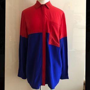 Club Monaco Colorblock Silk Blouse